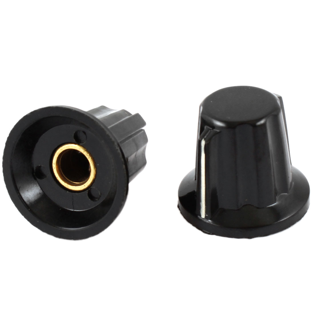 2 Pcs 24x20mm 6mm Shaft Dia Volume Control Plastic Potentiometer Knobs Caps