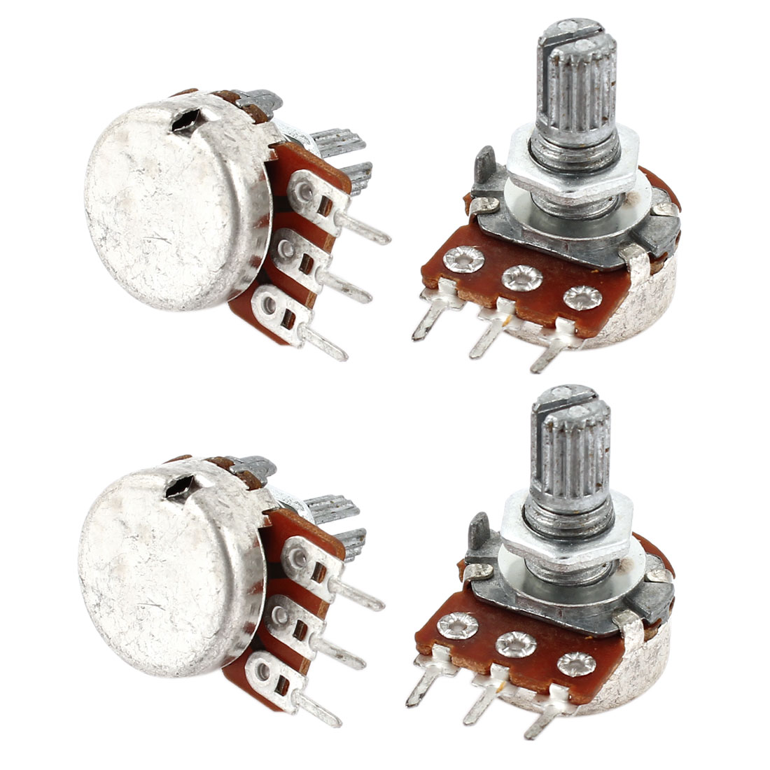4 Pcs Single Linear Knurled Shaft Control Volume Potentiometers 100K Ohm WH148