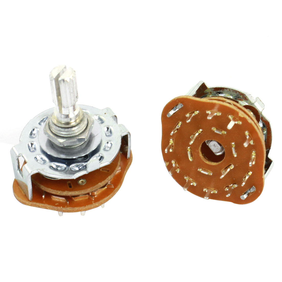 2 Pcs 2P6T 2 Pole 6 Position 6mm Knurled Shaft Dia Band Selector Rotary Switch