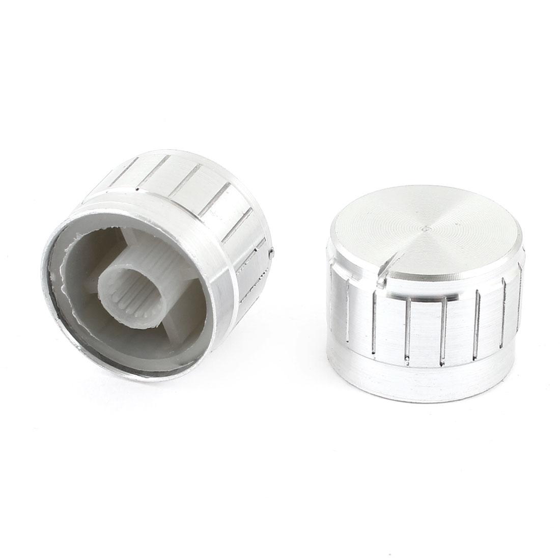 2 Pcs Silver Tone Volume Control Aluminum Potentiometer Knobs Caps 23mm x 17mm