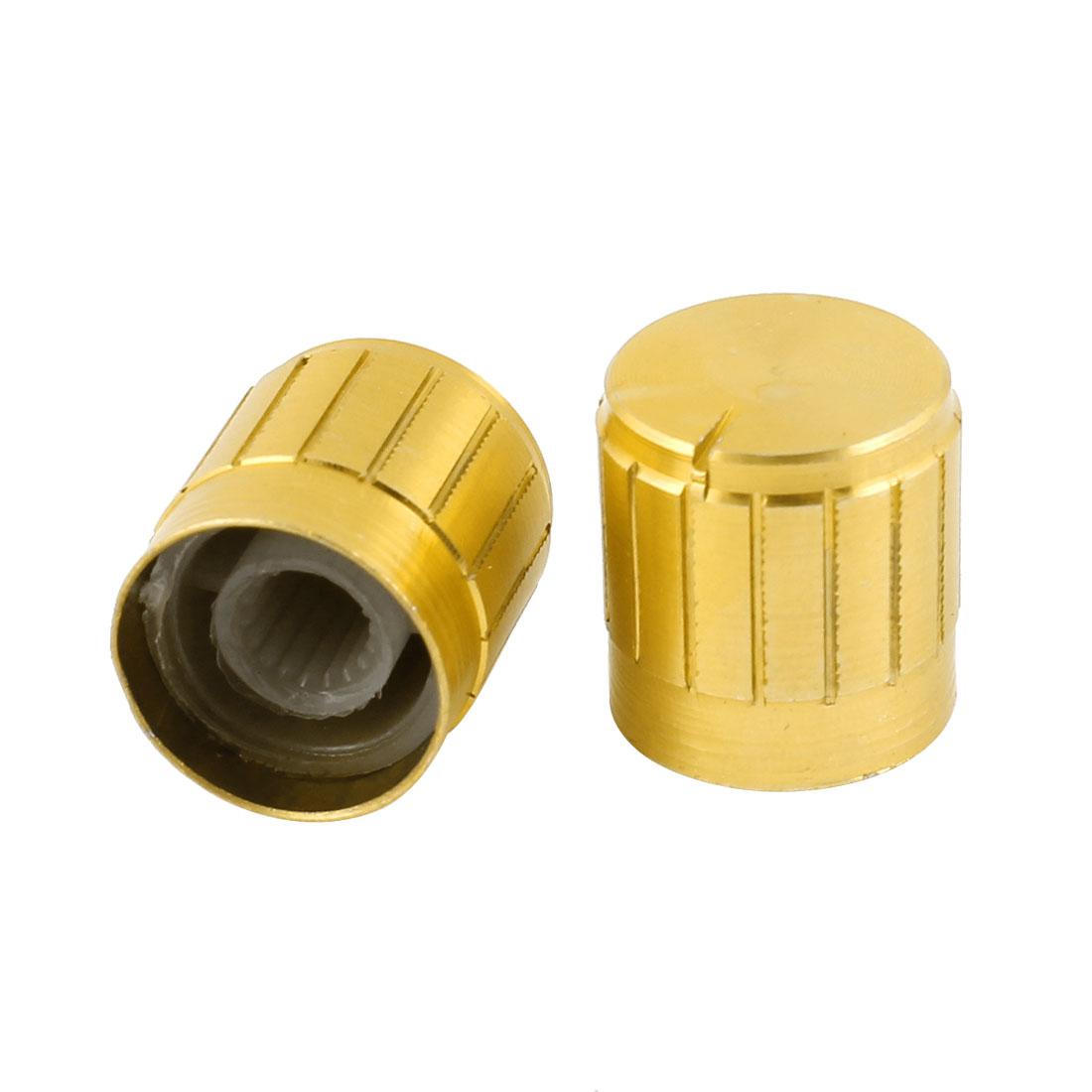 2 Pcs Gold Tone Volume Control Aluminum Potentiometer Knobs Caps 17mm x 17mm