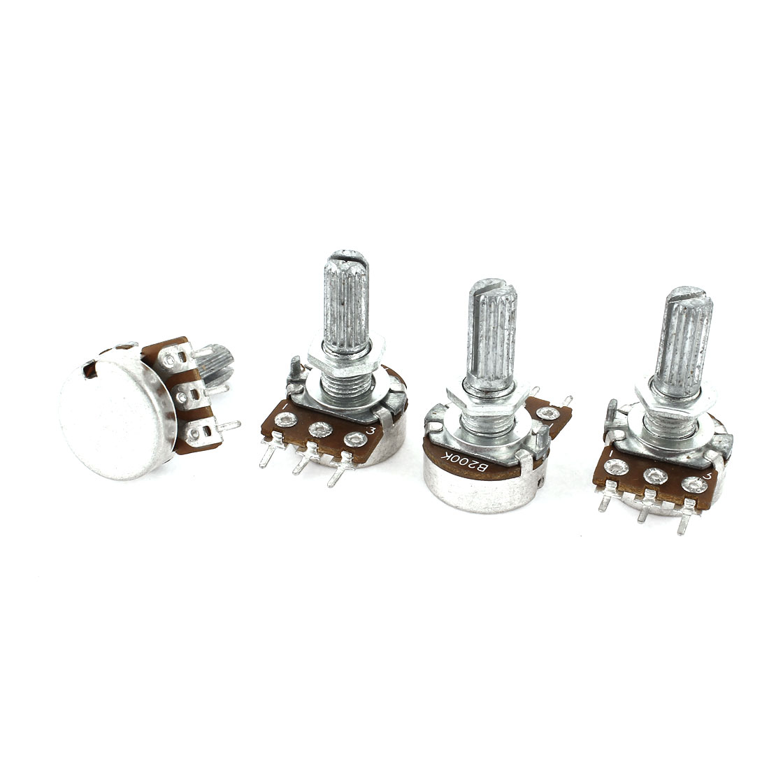 4 Pcs Single Linear Knurled Shaft Control Volume Potentiometers 200K Ohm WH148