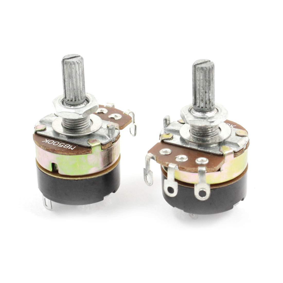 2Pcs B500K 500K Ohm Single Linear Rotary Switch Carbon Potentiometers