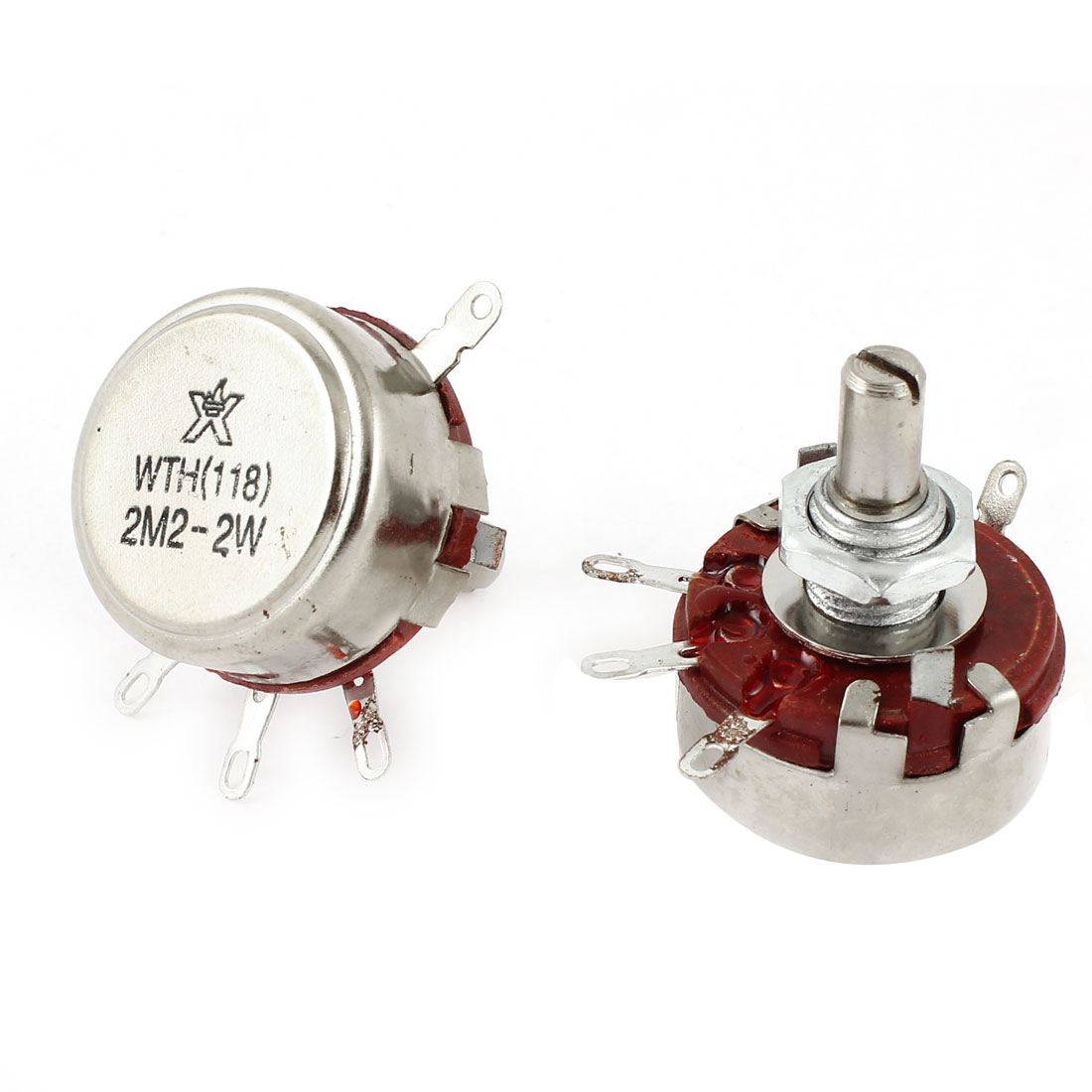 2 Pcs Single Linear Pot Rotary Taper Carbon Potentiometer 2W 2.2M Ohm WTH118