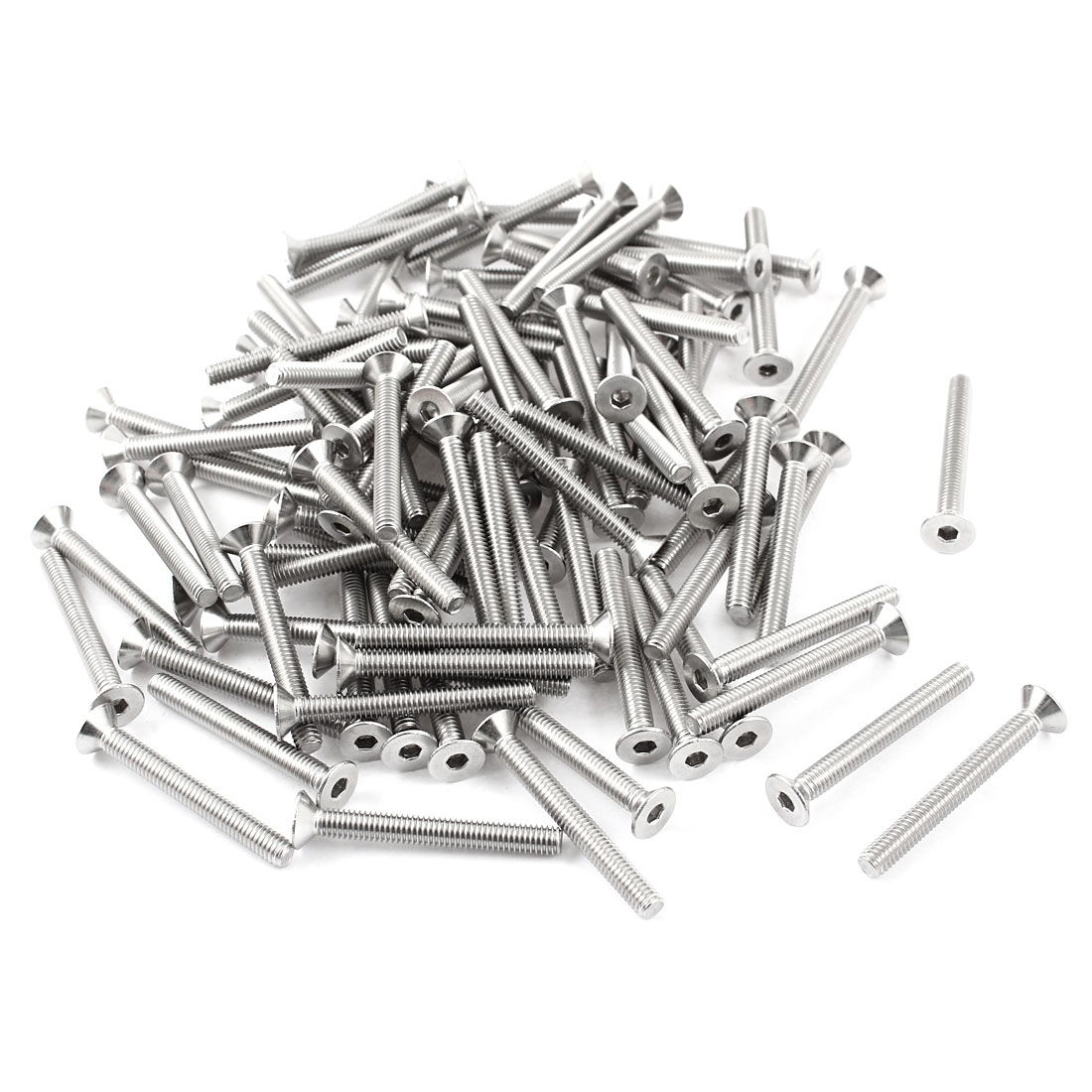 100 Pcs 304HC Stainless Steel Countersunk Hex Key Bolt Screw M4x30mm Silver Tone