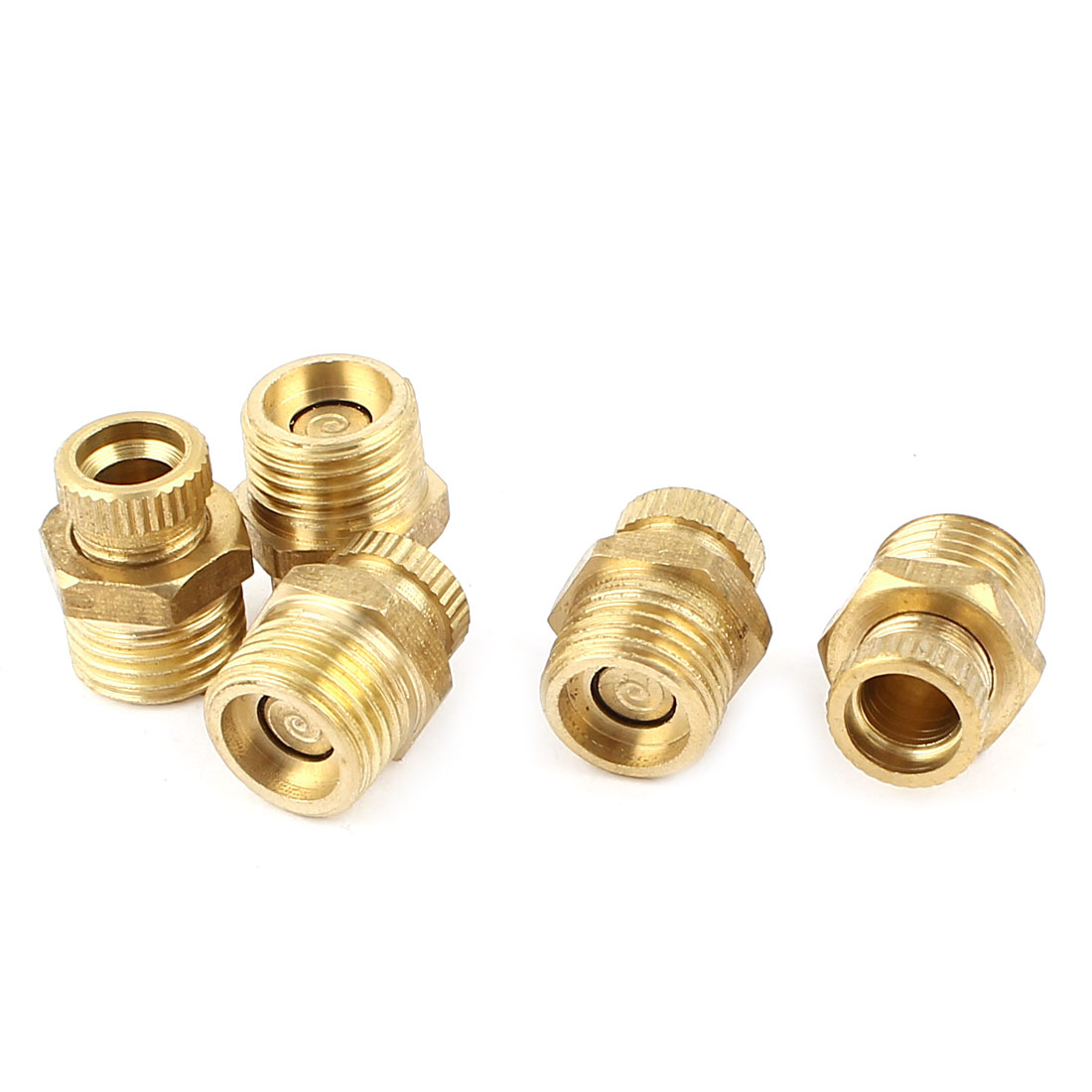 Air Compressor 13mm Male Thread Dia Water Drain Valve Brass Tone 5pcs