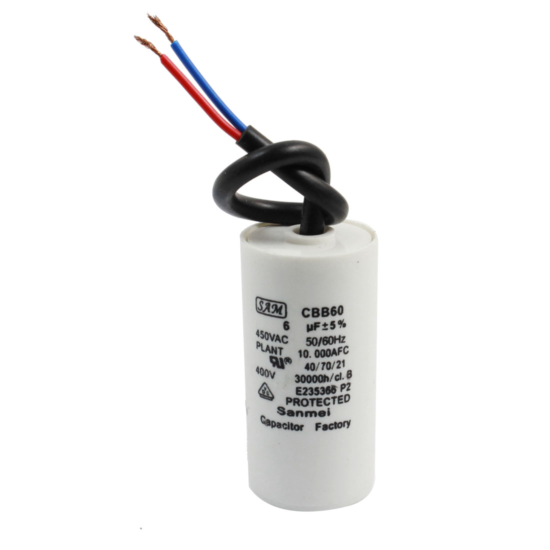 6uF 450VAC Metallized Polypropylene Film CBB60 Wired Motor Running Capacitor