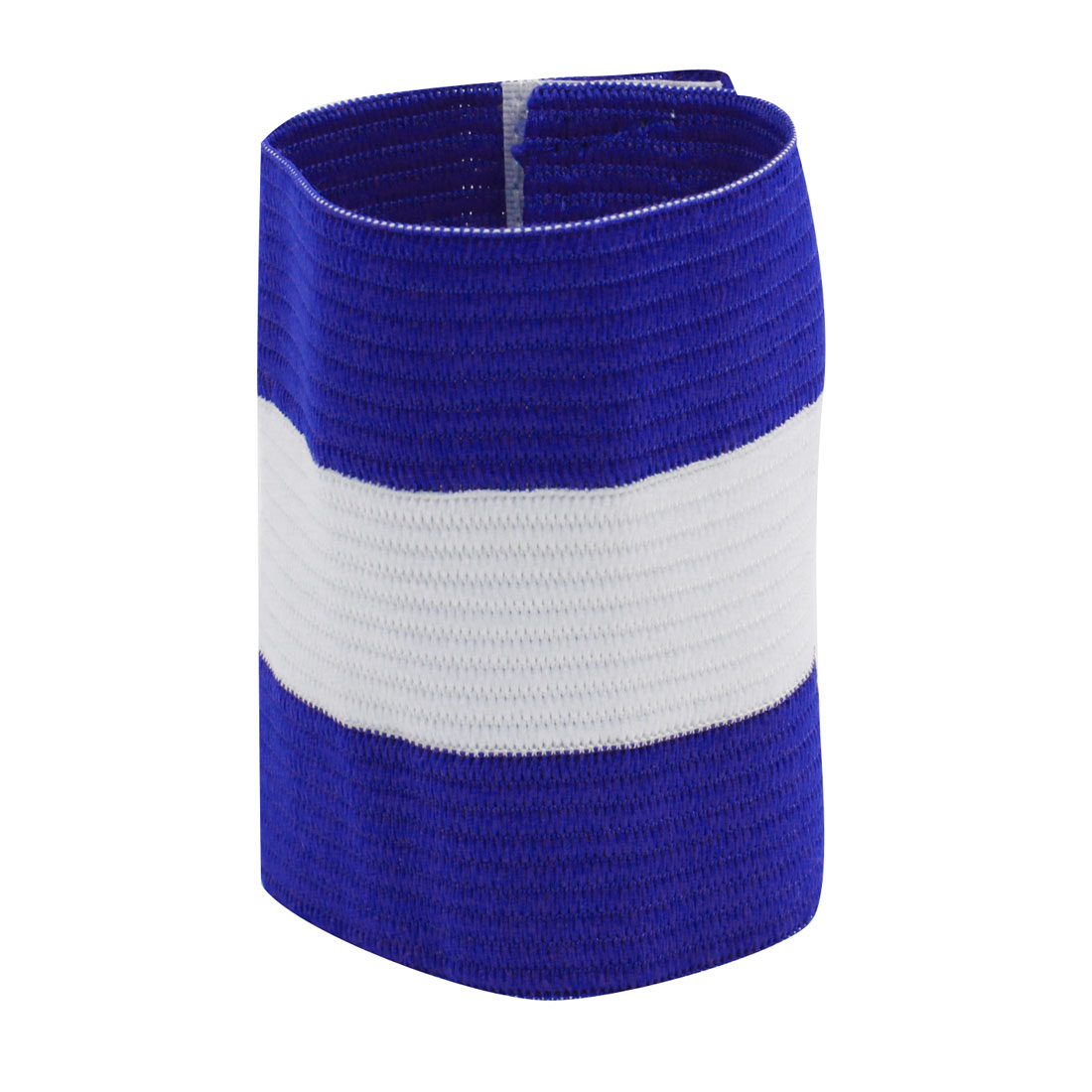 Blue White Detachable Hook Loop Closure Elastic Stretchy Tension Team Game Soccer Football Captain Armband