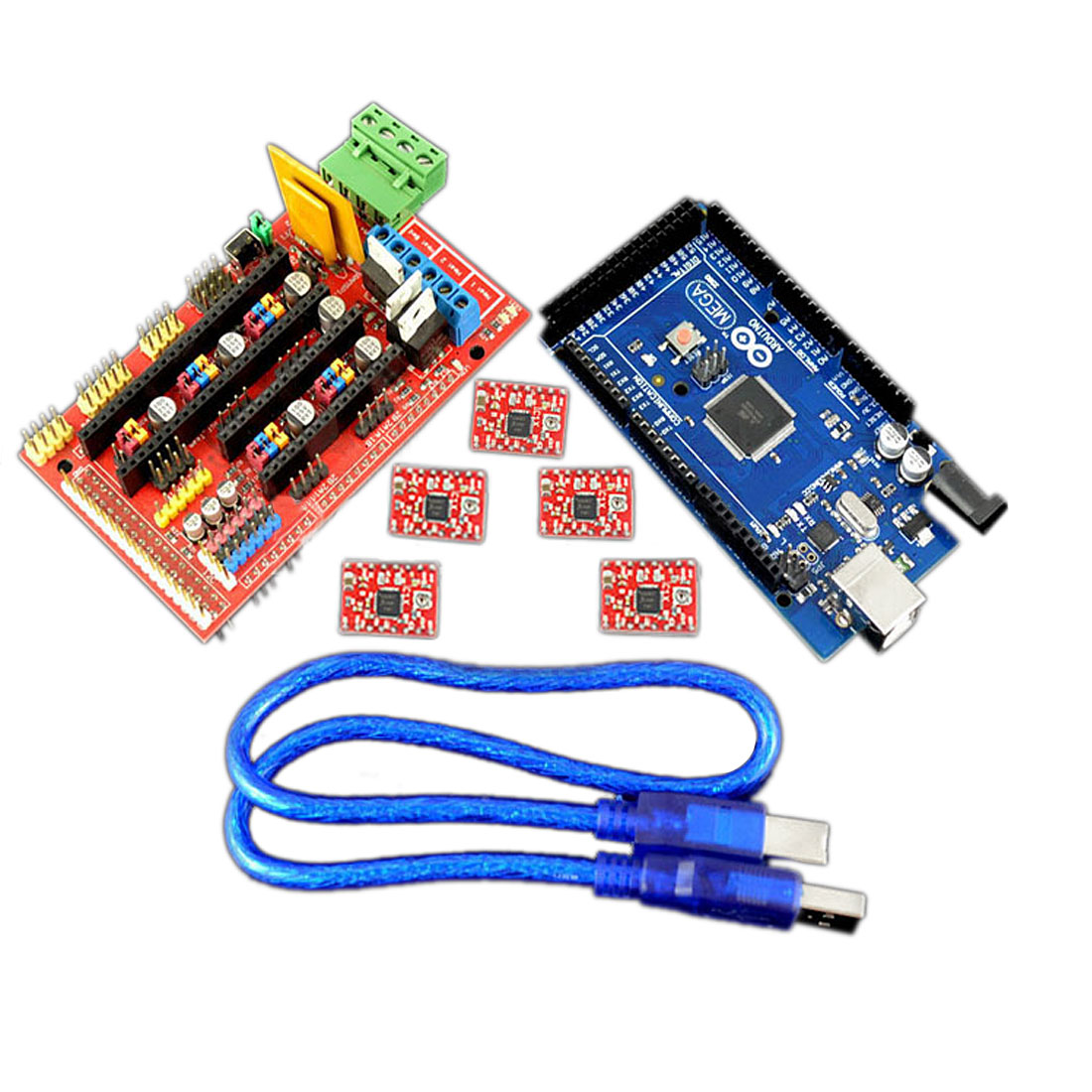 Reprap Ramps 1.4 w Mega2560R3 Control Board w A4988 Driver Heatsink 3D Printer Controller Kit