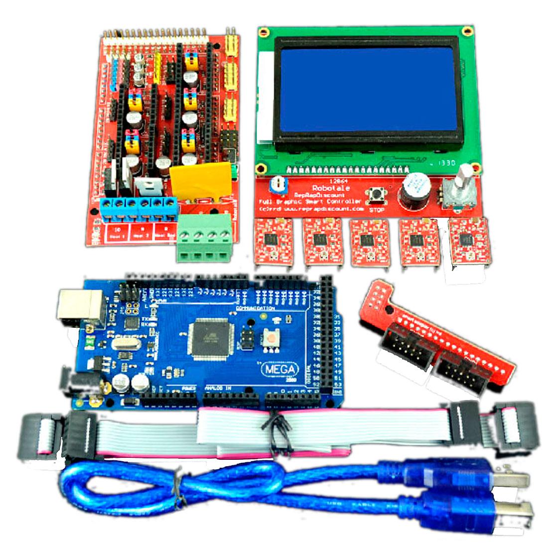 Mega2560R3 w Smart LCD 12864 Controller w A4988 RAMPS 1.4 3D Printer Kit