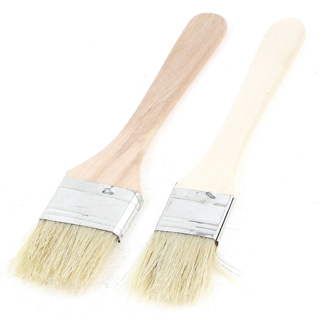 "Drawing Tool Wooden Handle Pig Bristle Paint Brush 7.3"" Long 2 Pcs"