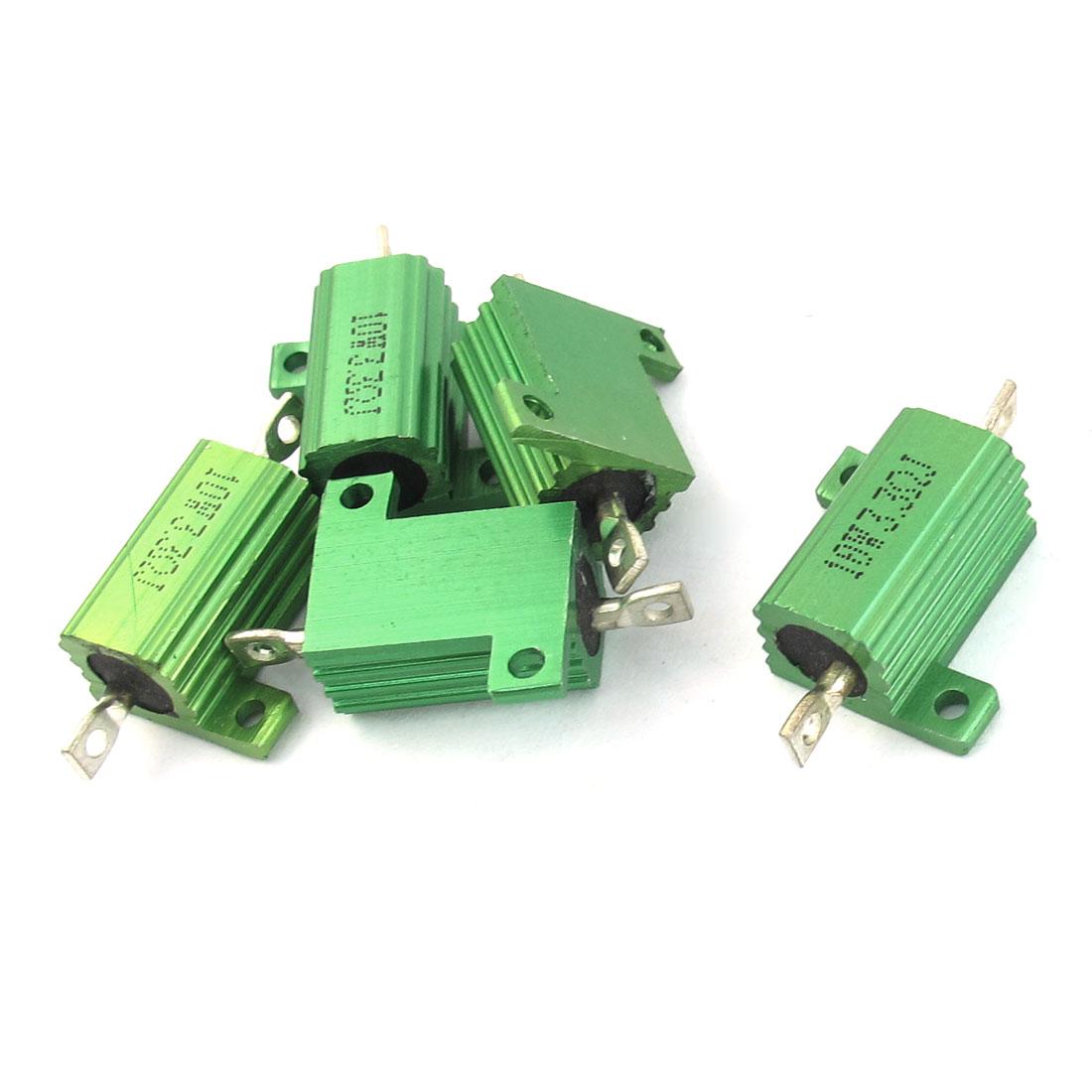 10Watt 3.3 Ohm 5% Aluminum Shell Clad Wire Wound Power Resistors Green 5Pcs