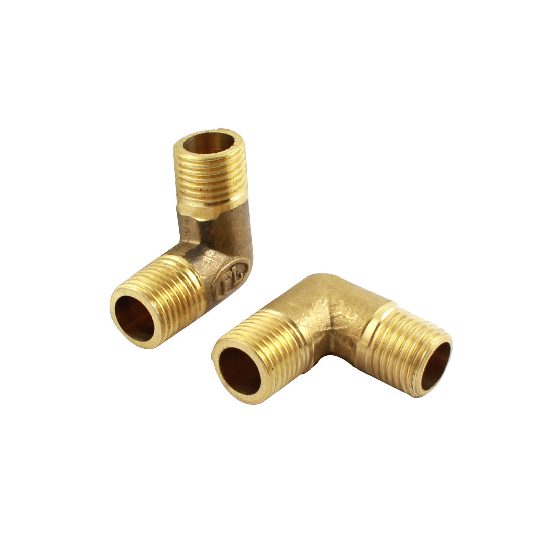 2pcs 1/4PT M/M Brass Right Angle Male Joint Connector for Water Fuel Pipe