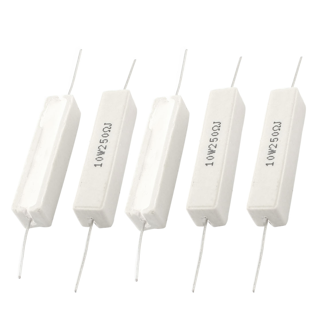 5Pcs 250 Ohm 10 Watt 5% Radial Lead Rectangle Ceramic Cement Resistor