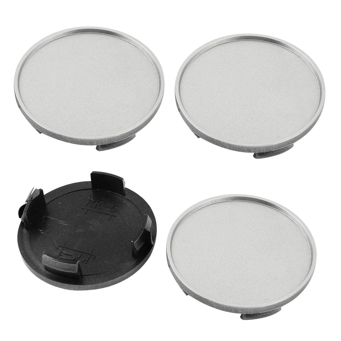4 Pcs 60mm Dia Silver Tone Plastic Auto Car Tyre Tire Wheel Cover Oranment