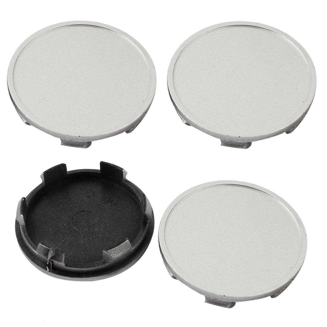 4 Pcs 60mm Dia Car Hood Emblem Wheel Center Hub Caps Covers Silver Tone