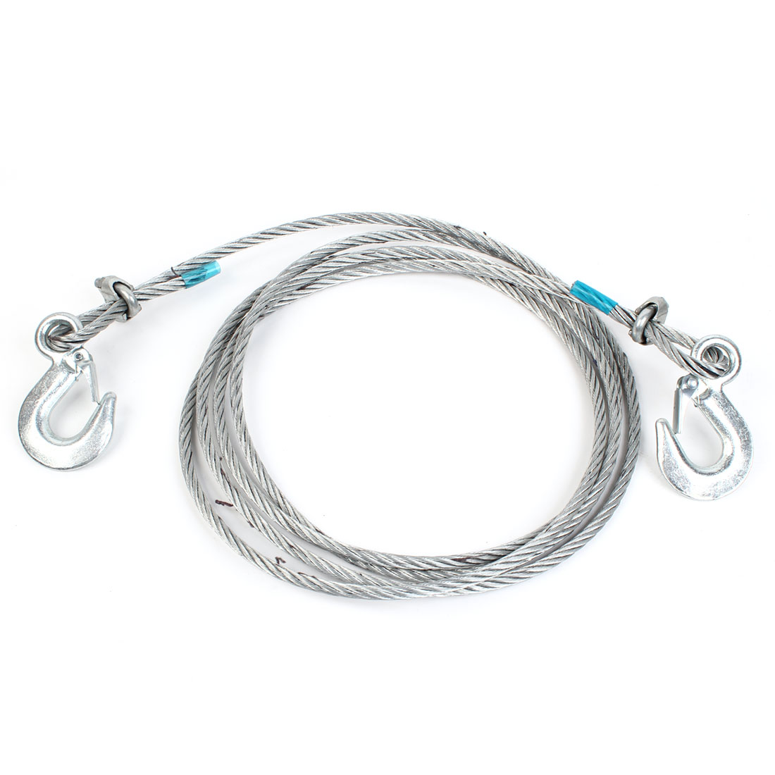 4M 5 Tons Car Steel Towing Cable Tow Rope Snatch Strap 10mm Dia Silver Tone