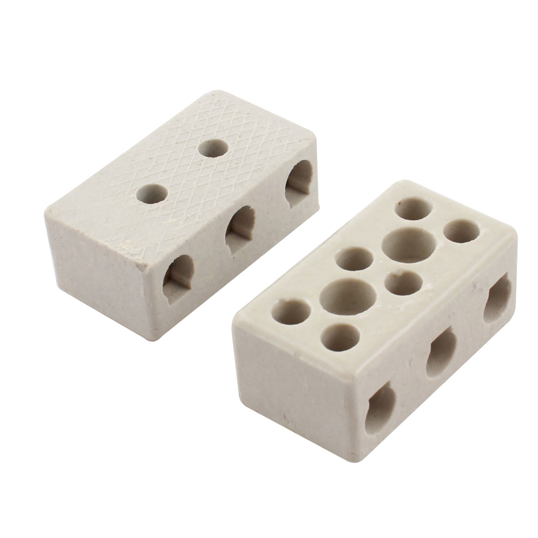 2 Pcs 10A 2W8H 2 Way 8 Hole Connector Porcelain Ceramic Terminal Block