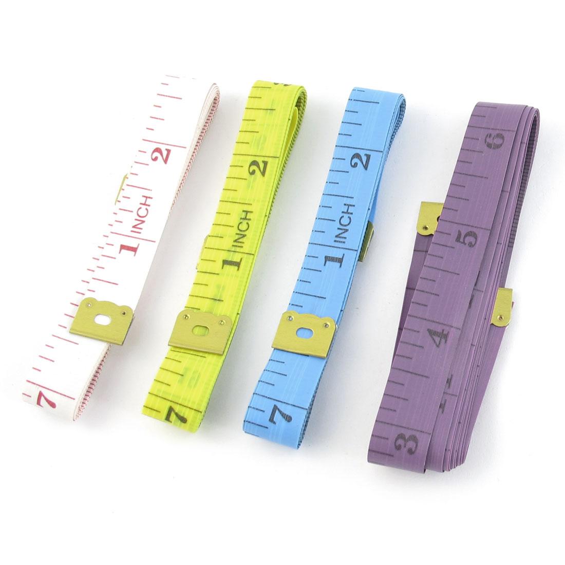 """Tailor Flexible Cloth Ruler Measure Tape Assorted Color 150cm/60"""" 4 Pcs"""