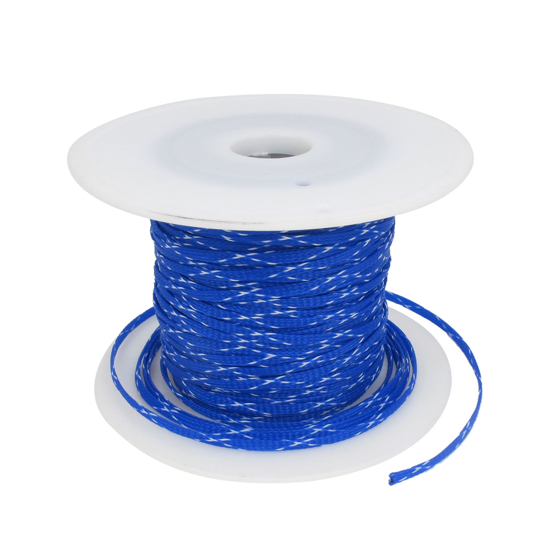 100m x 5mm Blue White Expandable Braided PET Sleeving Cable Weave for Car Audio