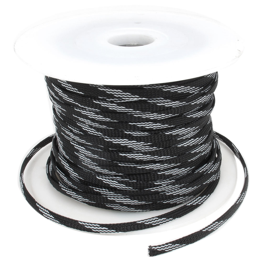 5mm x 100m Black White Expandable Braided High Dense PET Cable Sleeve DIY