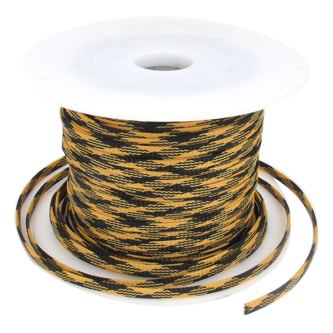 5mm x 100m Black Yellow Expandable Braided Dense PET Cable Sleeve