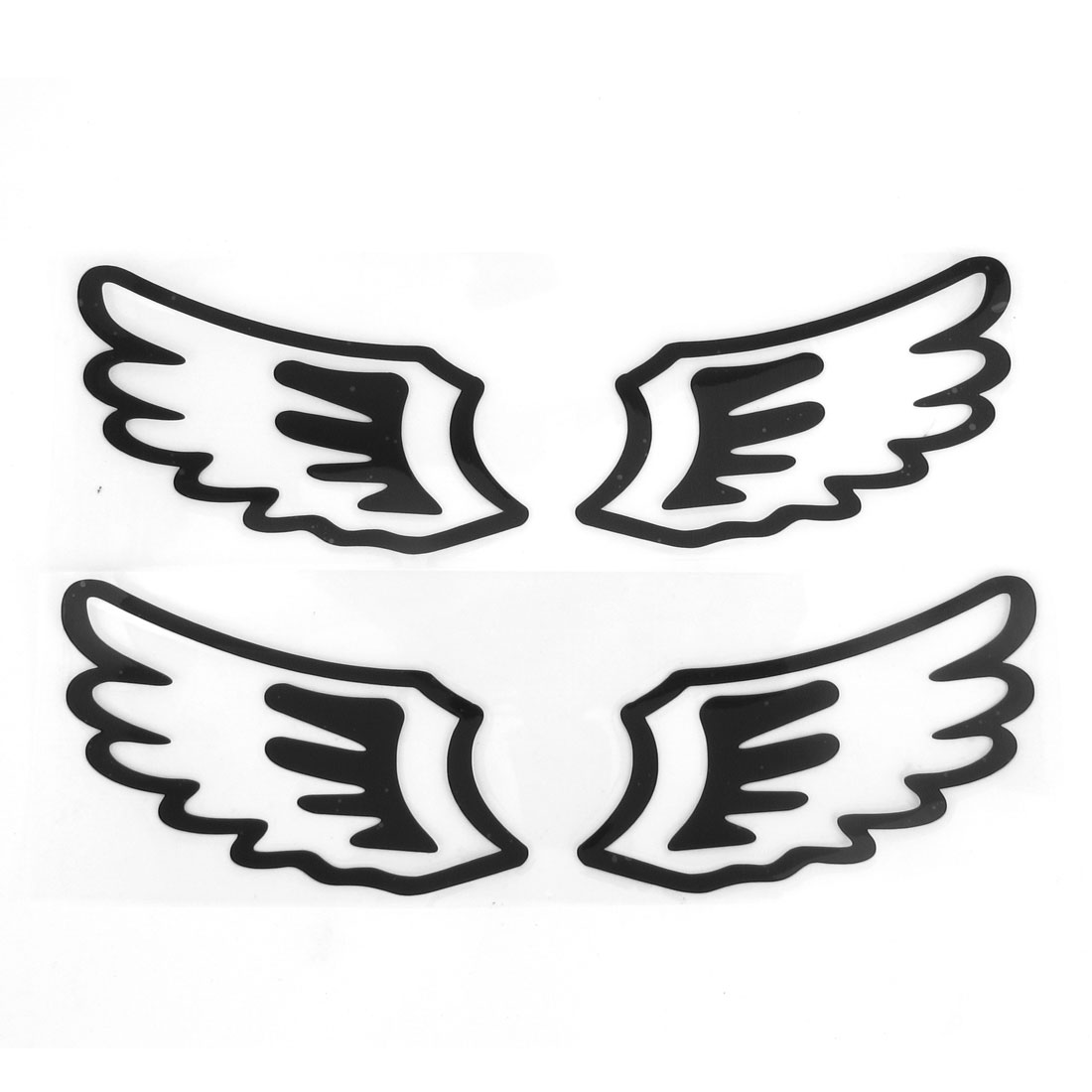 2 Pairs Car Black Paper Reflective Angel Wings Design Decal Stickers Ornament