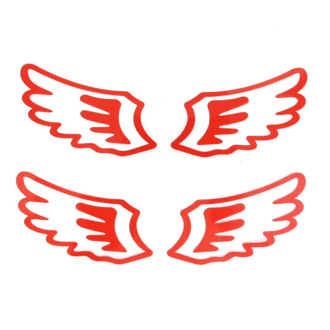2 Pairs Red Paper Angel Wing Shape Car Badge Emblem Sticker Decal Oranemnt