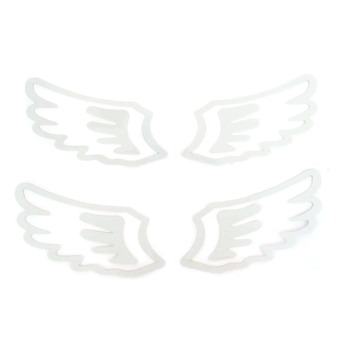 Pair Silver Tone Paper Angel Wings Adhesive Car Safety Reflective Sticker