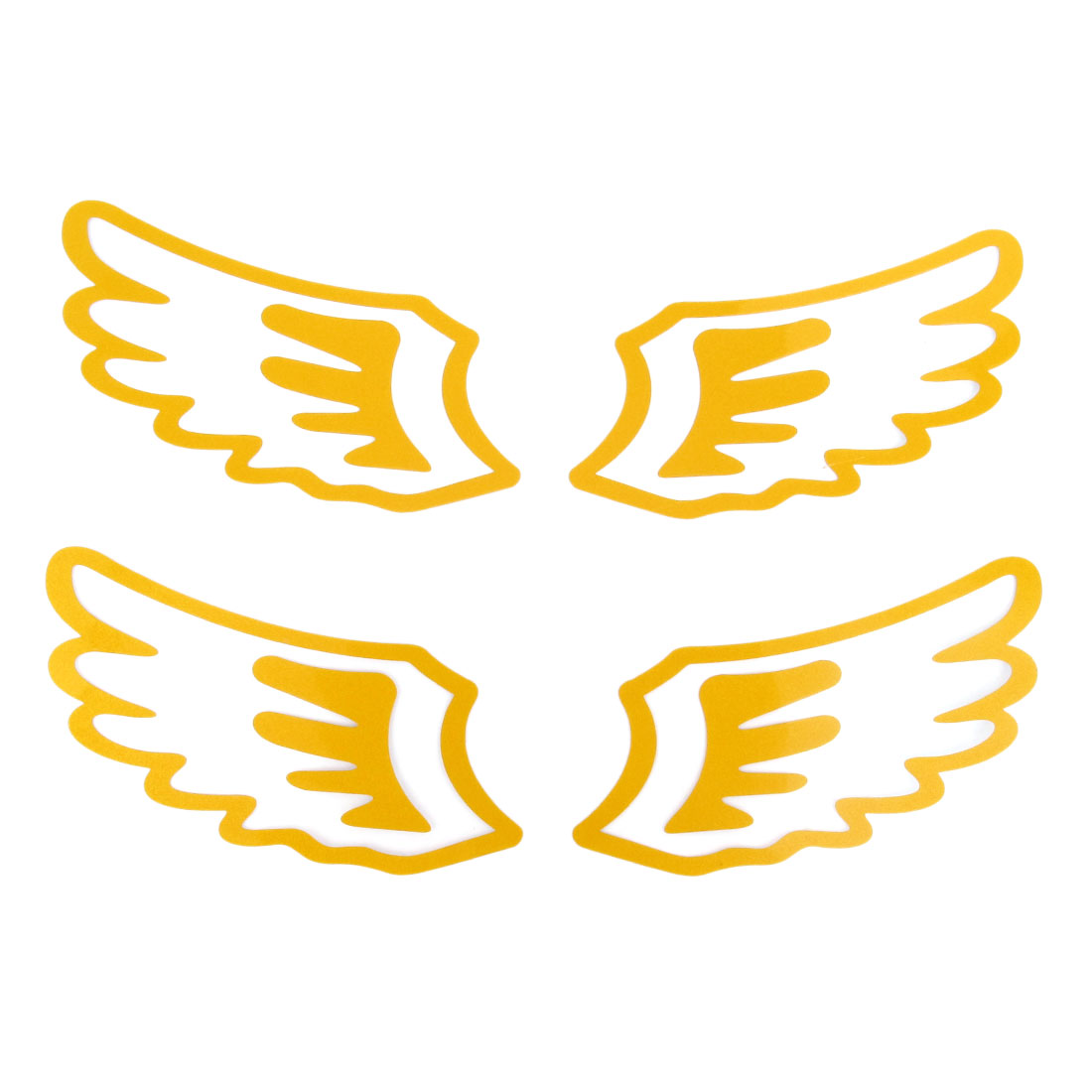 2 Pairs Gold Tone Paper Adhesive Back Angel Wing Shape Car Decal Sticker