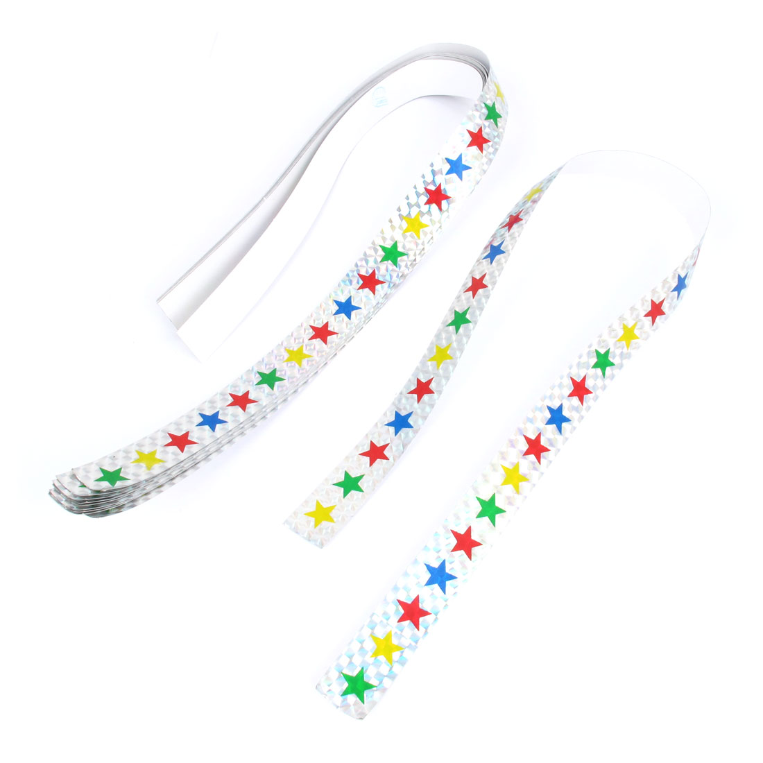 10 Pcs 53 x 2cm Colorful Star Pattern Adhesive Reflective Sticker Decal Sign for Car Auto