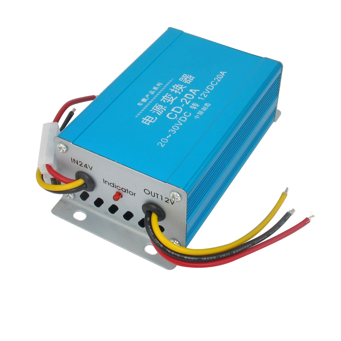 Car Auto Blue Shell Pre-wired DC 24-30V to DC 12V 20A Voltage Power Inverter Transformer