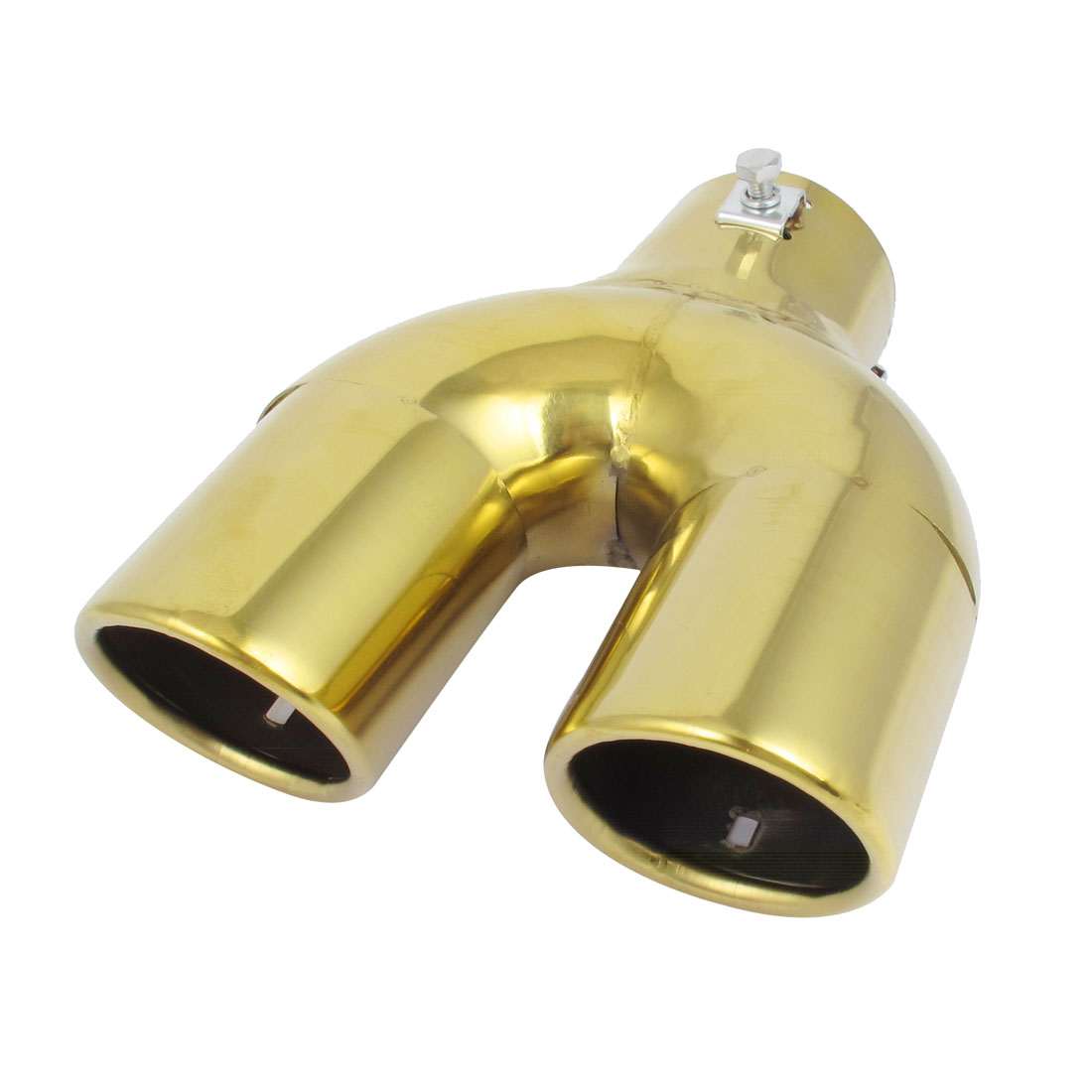"Car 2.4"" Inlet Round Rolled Exhaust Muffler Pipe Tip Silencer Gold Tone"