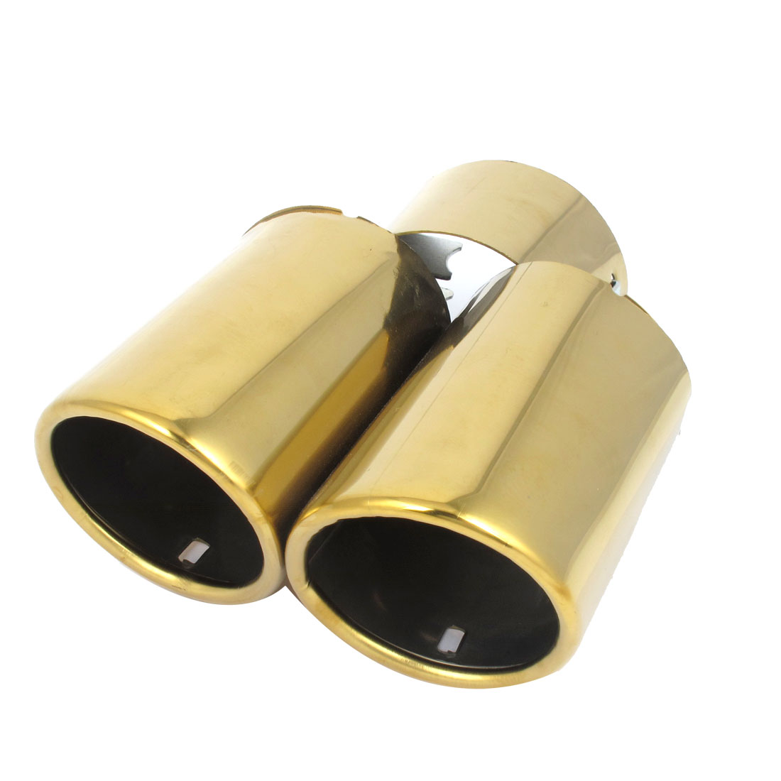 60mm Inlet Dia Gold Tone Exhaust Muffler Tip Dual Outlet Staggered for TIIDA