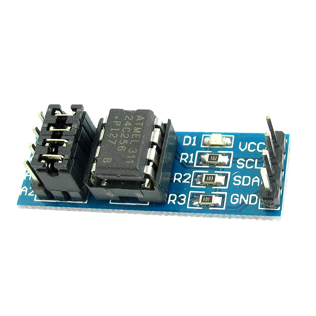 AT24C256 I2C Interface Rectangle 8-Pin EEPROM Memory Storage Module PCB Board Blue 37mm x 12mm x 12mm
