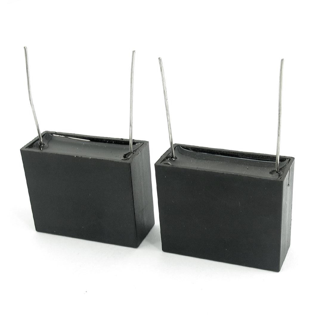 2 PCS AC 350V 2.2uF 50/60Hz Radial Lead Rectangle Film Correction Capacitors Black