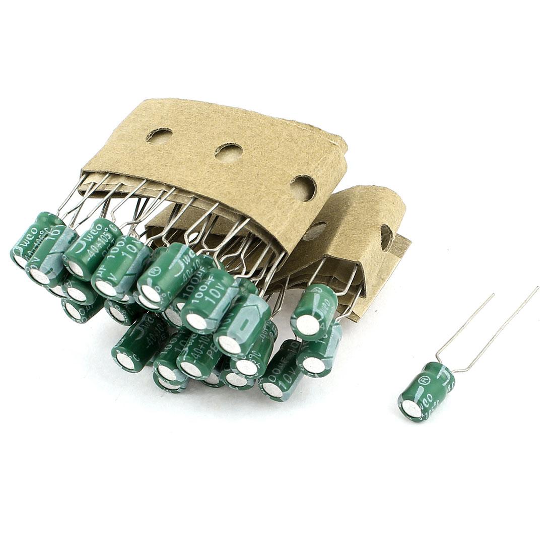 30PCS 100uF 10V 5x8mm Through Hole Radial Lead Aluminium Electrolytic Capacitor