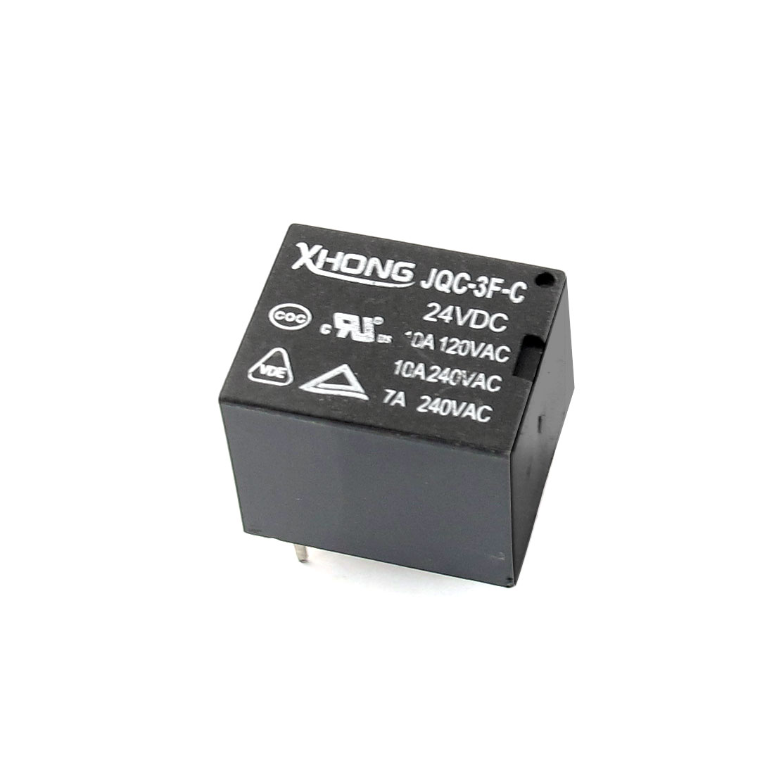 JQC-3F-C DC 24V Coil Voltage SPDT 5Pin Through Hole Mount Black Plastic General Purpose Square Power Relay