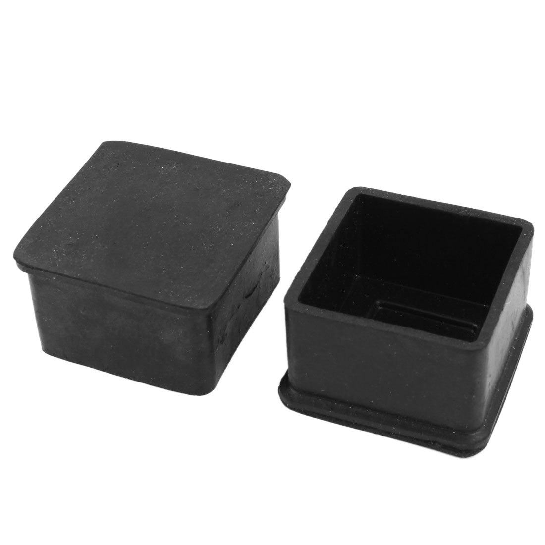 2 Pcs Squared Furniture Chair Table Foot Covers Protectors Black 48mm x 48mm