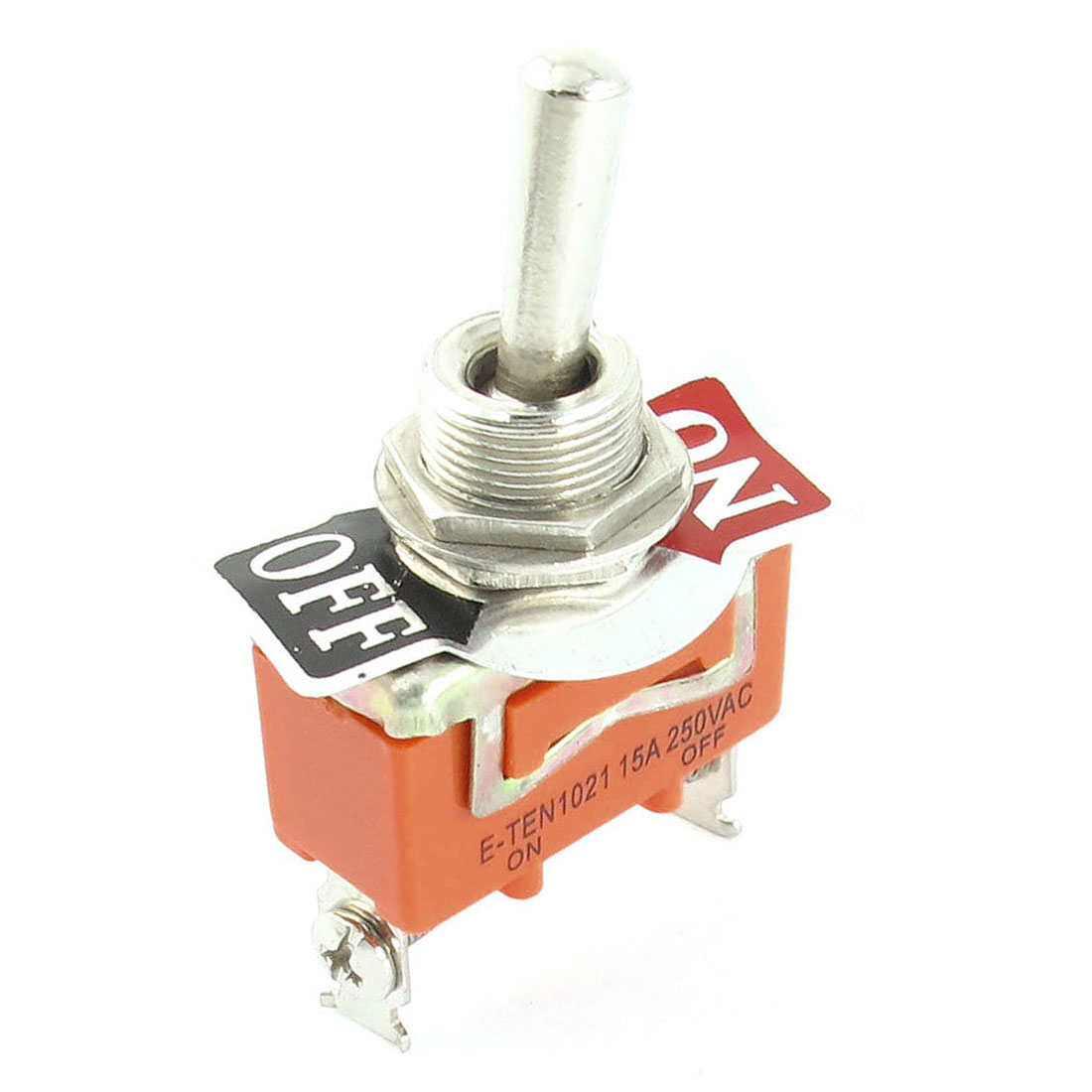 3mm Thread Diameter 2 Position 2-Terminals SPST Toggle Switch AC 250V 15A