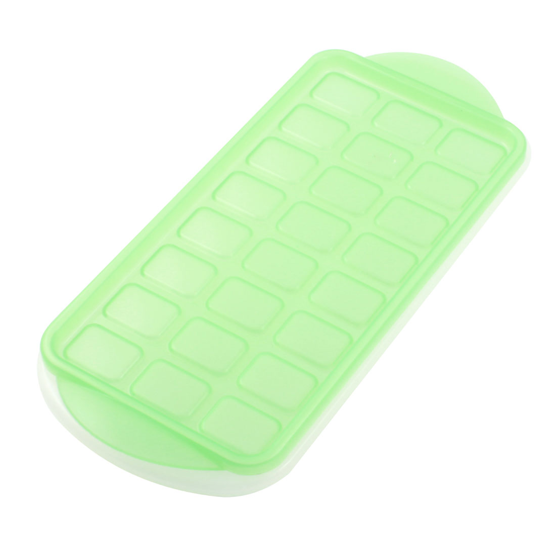 Household 24 Slots White Plastic Pudding Mould Ice Cube Mold w Green Lid