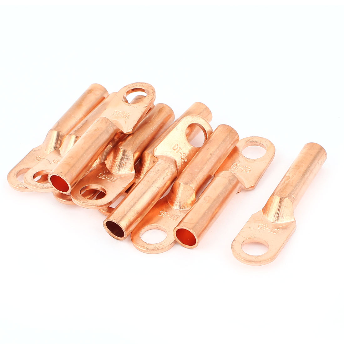 10Pcs Compression Copper Wire Terminal Lug Connectors 11mm Ring for 35mm2 Cable 3/8 Stud