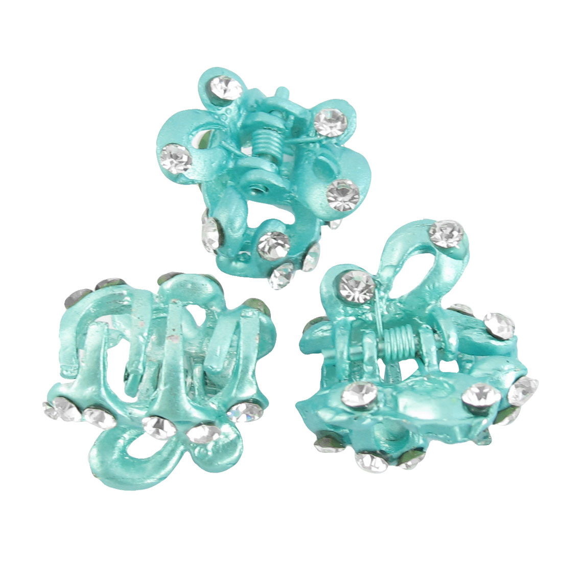 Ladies Butterfly Rhinestone Inlaid Metal Hair Claw Clip Aqua 3 Pcs