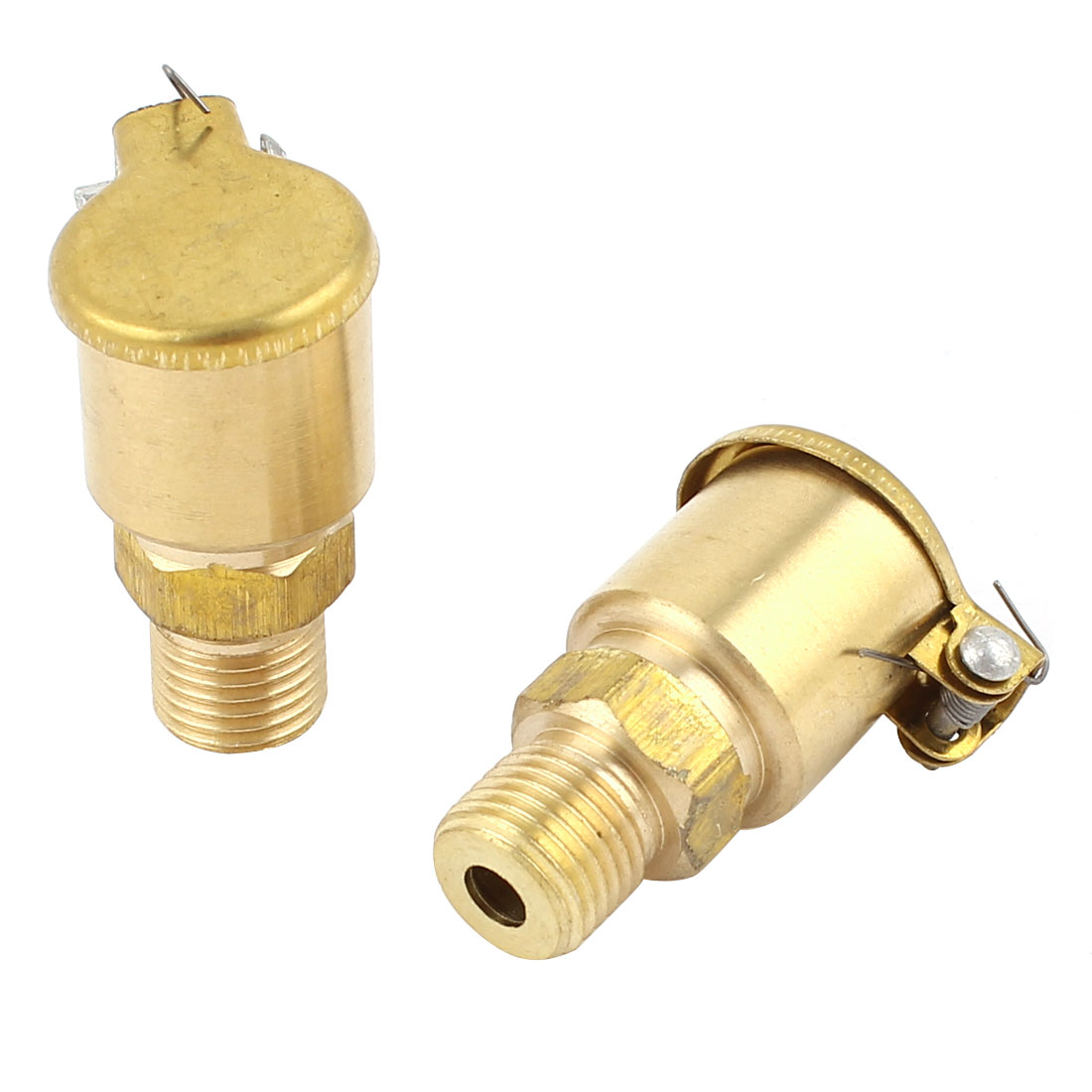 2 Pcs M10 Male Thread 1.5cm Dia Brass Spring Cover Cap Grease Lubricating Oil Cup