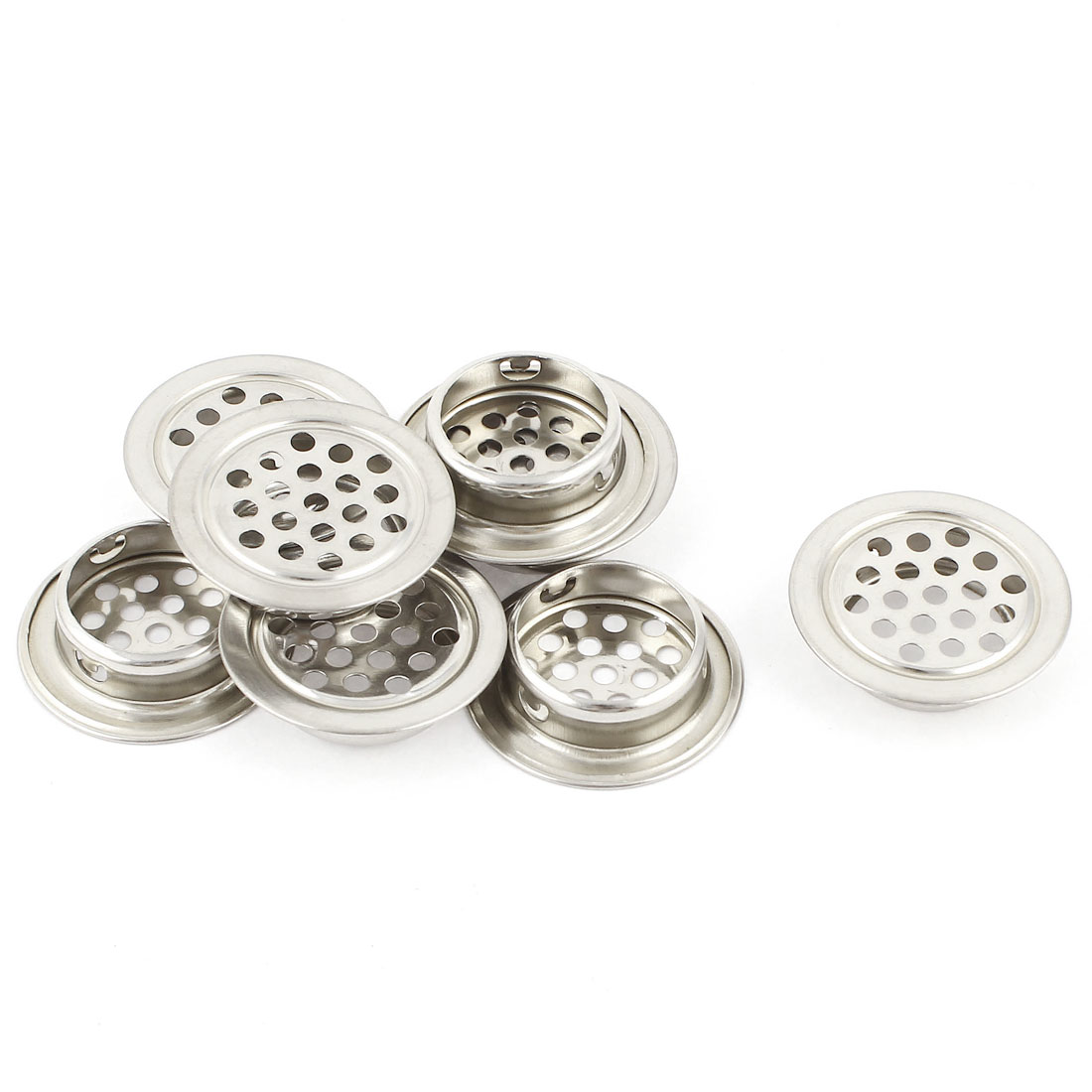 8 Pcs Silver Tone Stainless Steel Perforated Mesh Cabinet Air Vents Mini Louvers 25mm