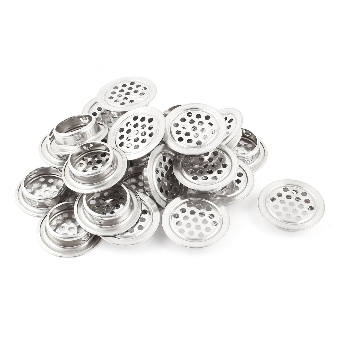 24 Pcs Silver Tone Stainless Steel Perforated Mesh Cabinet Air Vents Mini Louvers 25mm