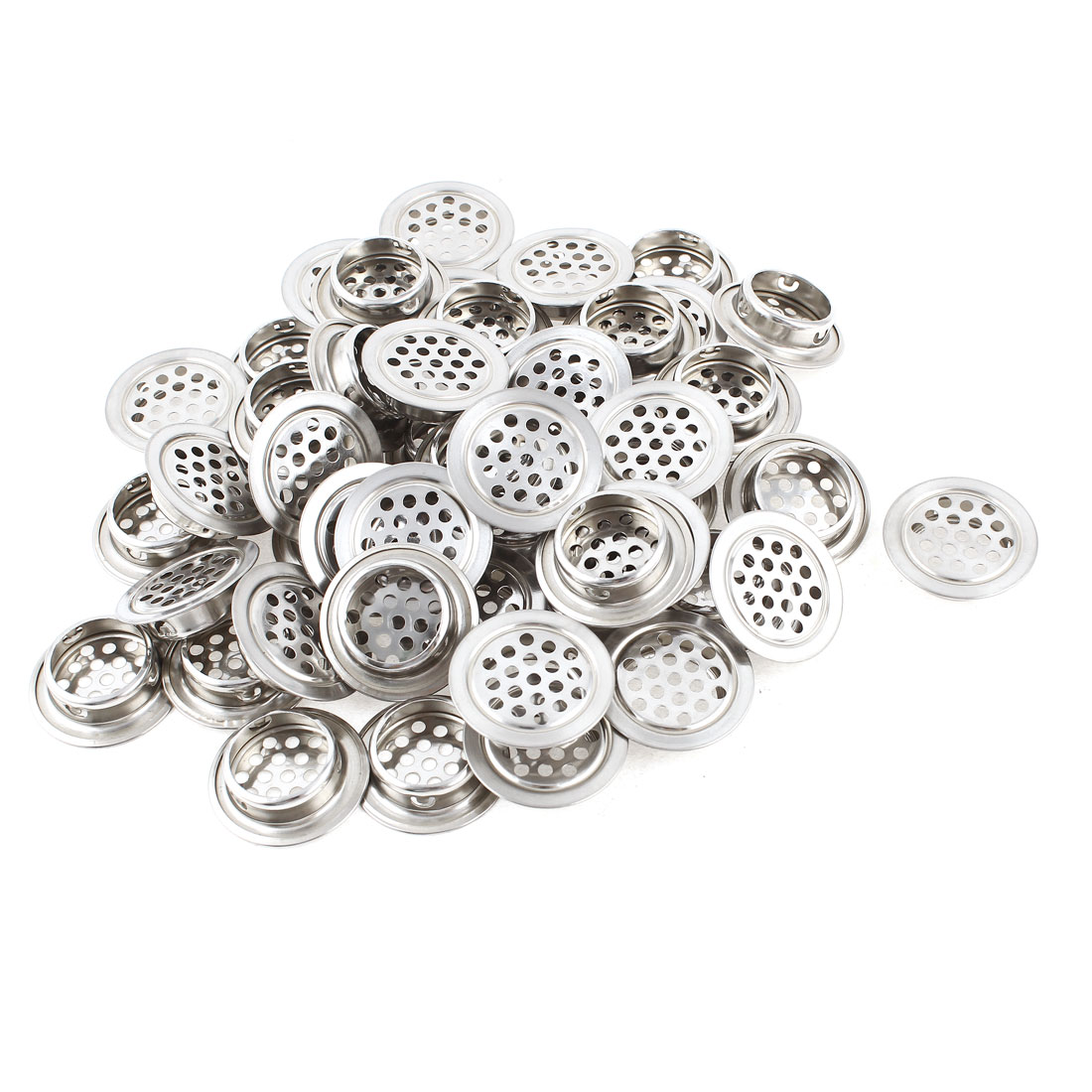 50 Pcs Silver Tone Stainless Steel Perforated Mesh Cabinet Air Vents Mini Louvers 25mm