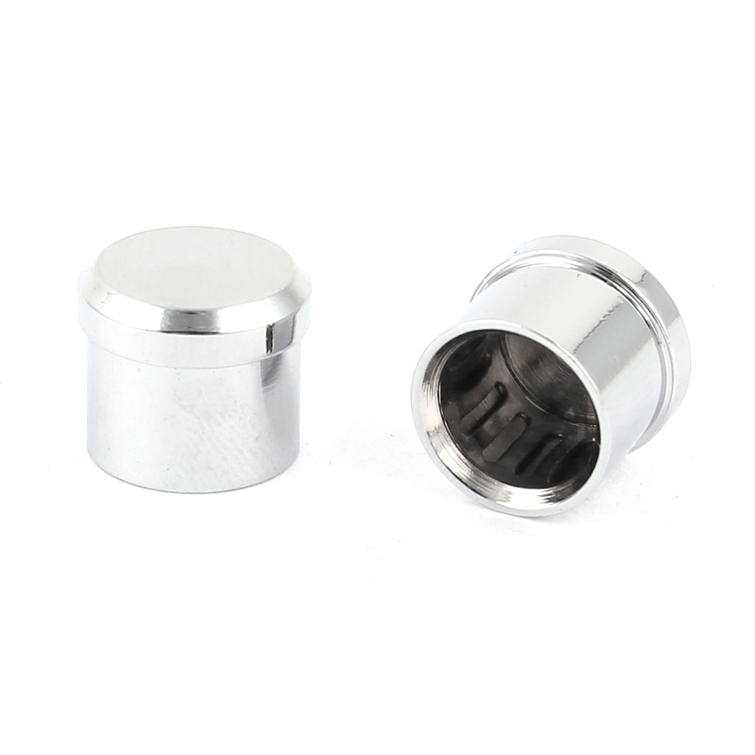 2 Pcs Silver Tone Metal RCA Protector Cap Shielding Dust Proof Cover