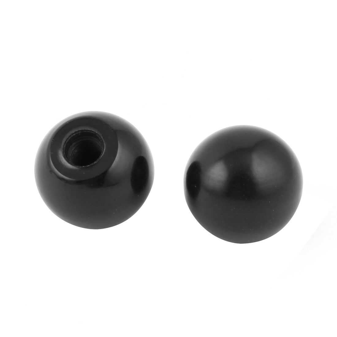 2pcs M10x22mm Thread Black Round Plastic 35mm Diameter Ball Lever Knob