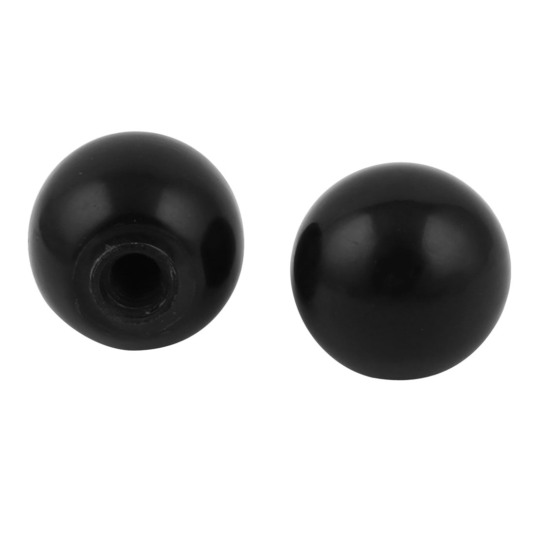 2pcs M10x31mm Thread Black Round Plastic 40mm Diameter Ball Lever Knob